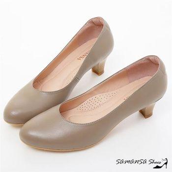莎曼莎手工鞋【MIT全真皮】職場2.0 ---綿羊皮素面靜音工作不分心上班鞋 -#15102 氣質灰