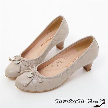莎曼莎【MIT全真皮】格格小公主---菱格紋綿羊皮靜音超紓壓中跟鞋-#15101 優雅灰