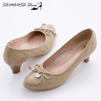 莎曼莎手工鞋【MIT全真皮】格格小公主-菱格紋綿羊皮靜音超紓壓中跟鞋-#15101 淡雅駝