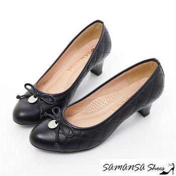 莎曼莎手工鞋【MIT全真皮】格格小公主---菱格紋綿羊皮靜音超紓壓中跟鞋-#15101 經典黑