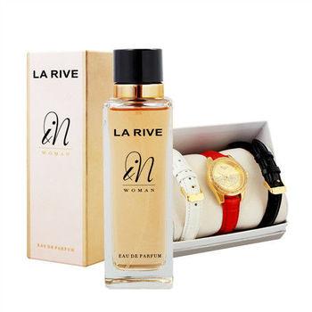 【寵愛組】LA RIVE法式香氛晶鑽錶超值任選組(香水任選+晶鑽腕錶組)