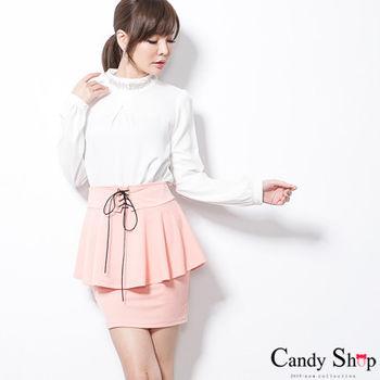 CANDY小舖 腰間綁帶層次包臀短裙