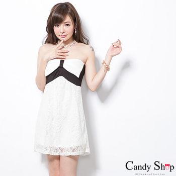 CANDY小舖 蝴蝶結平口蕾絲洋裝