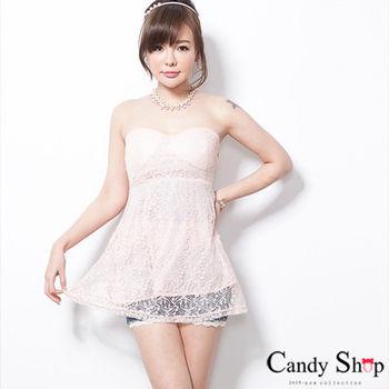 CANDY小舖 無袖罩杯低胸心型領蕾絲上衣