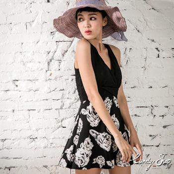 Candy小舖 深V拼接玫瑰傘狀裙襬短洋裝-黑色夏日