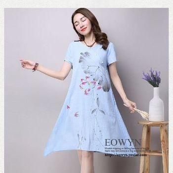 實拍水墨印花長裙寬松大碼棉麻印花連衣裙天藍色/紅色/白色/2XL/XL/L/M