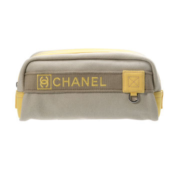 CHANEL 灰黃休閒收納化妝包