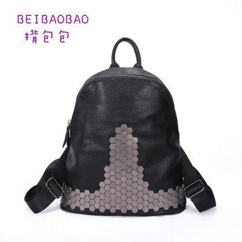【BEIBAOBAO】原宿鉚釘真皮後背包 (鉚釘後背包)