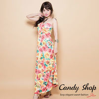 Candy小舖 珠飾繞頸繽紛塗鴉幾何印花洋裝 ^#45 玫瑰花黃色