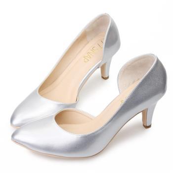TTSNAP 高跟鞋-MIT側鏤空小尖頭真皮跟鞋-時尚銀