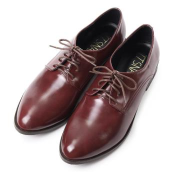 TTSNAP牛津鞋MIT尖頭漆皮綁帶紳士鞋鞋-櫻桃酒紅