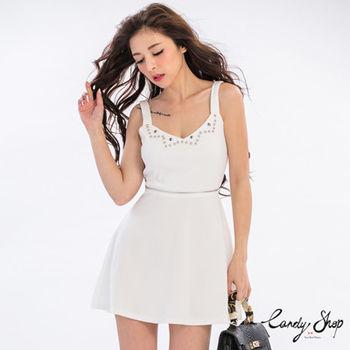 Candy小舖 吊帶珠釘拉鍊裝飾洋裝 - 白色