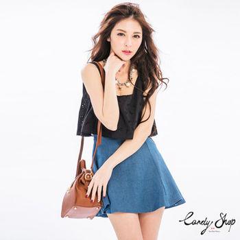 Candy小舖 刺繡簍空拚色牛仔背心短洋裝 - 藍色