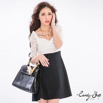 Candy小舖 低胸蕾絲扭結七分袖撞色短洋裝 - 白色