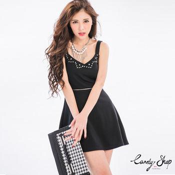 Candy小舖 吊帶珠釘拉鍊裝飾洋裝 - 黑色