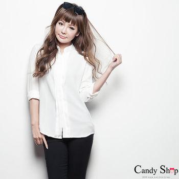 Candy小舖 優雅法式白色雪紡衫長袖百搭上衣-白色