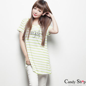 Candy小舖 正韓彩色條紋Angel字樣圓領長版上衣 - 紅色