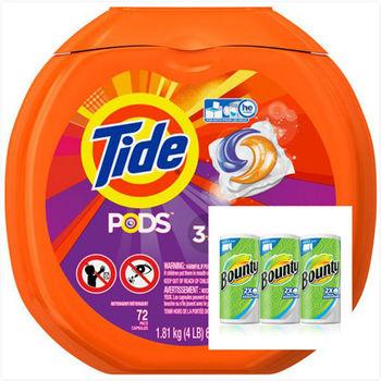 美國汰漬Tide 新一代洗衣凝膠球(1810g/72顆)*1*+ 【美國 Bounty】萬用廚房紙巾(大尺寸44片*3捲)