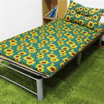 【KOTAS】冬夏透氣床墊-單人 一入(送 記憶枕) 《太陽花深綠》