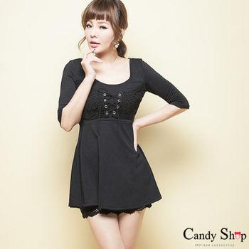 CANDY小舖 5分袖胸前蕾絲綁胸短洋裝-黑色