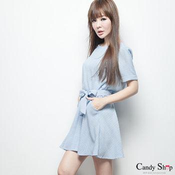Candy小舖 淺藍格紋收腰綁繩連身裙 - 藍色