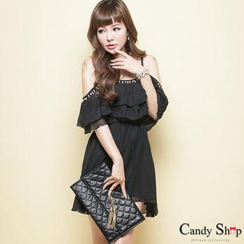 Candy小舖 珠珠露肩細肩帶雪紡荷葉短洋裝-黑色