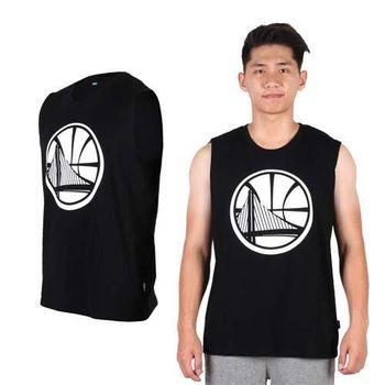 【NBA】WARRIORS 勇士隊-男印花圓領背心 -籃球背心 球衣 籃球服 黑白