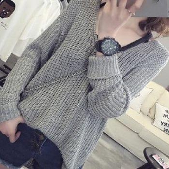 [協賀]V領寬鬆套頭針織衫