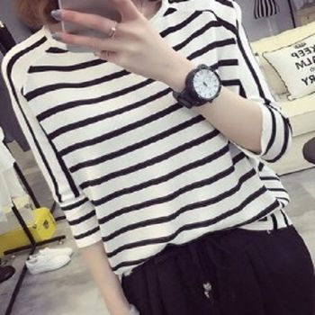 [協賀]黑白條紋七分袖寬鬆T
