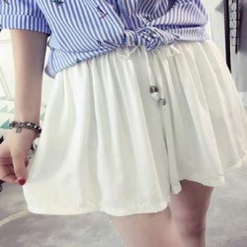 [協賀]純色繫帶短款裙褲