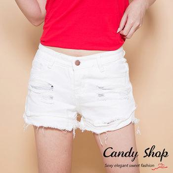Candy小舖 新品春夏韓版個性顯瘦打破洞牛仔短褲 - 白色