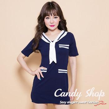 Candy小舖 新品春夏海軍風蝴蝶結包臀洋裝-藍色
