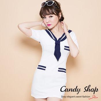 Candy小舖 新品春夏海軍風蝴蝶結包臀洋裝 - 白色