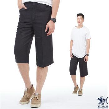 【NST Jeans】005(26260) 禪意亞麻黑 冰涼節能 七分休閒褲(中高腰 鬆緊帶 寬版)