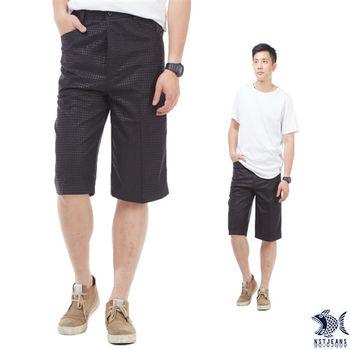 【NST Jeans】006(26256) 鋼鐵男子 質感光澤黑印花 七分休閒褲(中高腰 鬆緊帶 寬版)