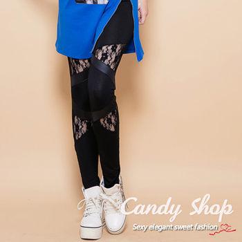Candy小舖 新品特色款玫瑰拼接蕾絲修飾腿型內搭褲 - 黑色