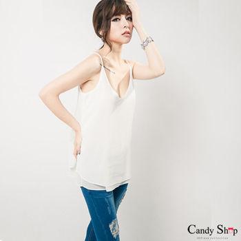 Candy小舖 細肩V領寬鬆雙層雪紡上衣 - 白色