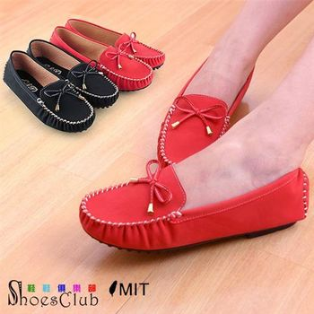 【ShoesClub】【052-906】台灣製MIT 蝴蝶結莫卡辛豆豆鞋.2色 黑/紅