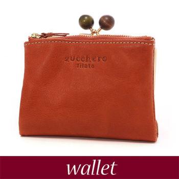 【zucchero filato】日本人氣 珠扣 短夾 皮夾 錢包 折疊 零錢袋 牛皮革 雜誌款 女包【58010】