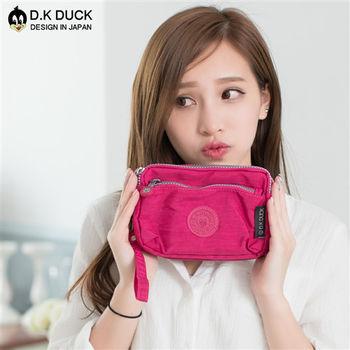 【D.K DUCK達可鴨】實用防潑水 經典日系輕量款 多層收納手拿包/零錢包-玫紅