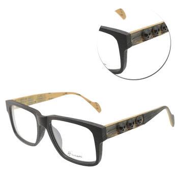 【THIARI】方形邊框造型木紋光學眼鏡(L5005-DSC1N 黑色骷髏)