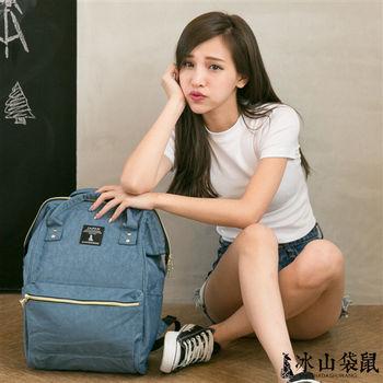 【冰山袋鼠】超人氣 日本樂天熱銷款 大開口收納 防潑水兩用輕量後背包/手提包-灰藍
