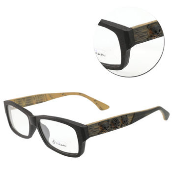 【THIARI】邊框造型木紋光學眼鏡(L5003-DSC1N 黑色骷髏)