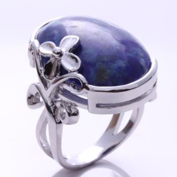 【寶石方塊】頂級阿富汗花開富貴天然青金石戒指(925純銀飾)