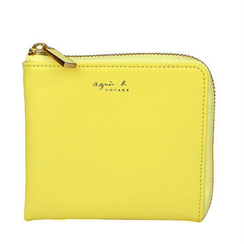 agnes b.  VOYAGE皮革L型拉鍊卡夾零錢包(粉嫩黃)