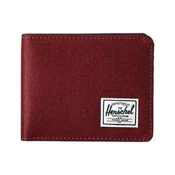 【Herschel】2016男時尚塗層棉織酒紅色皮夾(預購)