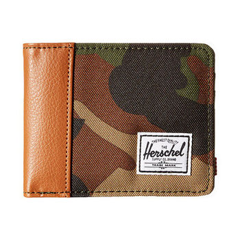 【Herschel】2016男時尚塗層棉織棕迷彩色皮夾(預購)