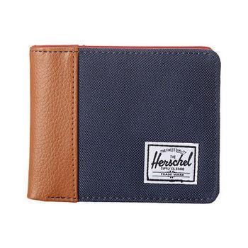 【Herschel】2016男時尚塗層棉織寶藍棕色皮夾(預購)