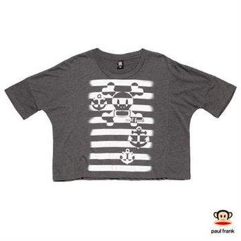 PAUL FRANK-海軍風SKURVY骷髏頭短版T恤-深麻灰(女)