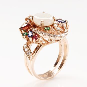 【寶石方塊】鶯歌燕舞天然蛋白石戒指-925純銀飾